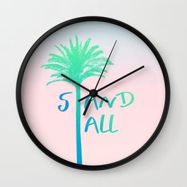 Stand Tall Palm Tree Beach Summer Vibes Blue and Pink Wall Clock