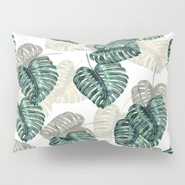 Philodendron Leaves on White  Pillow Sham