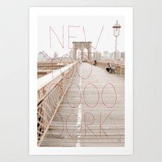 New York romantic typography vintage photography Art Print