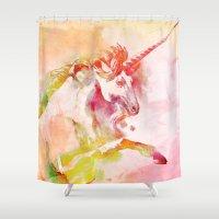 unicorn Shower Curtains featuring Unicorn by orangpalsu