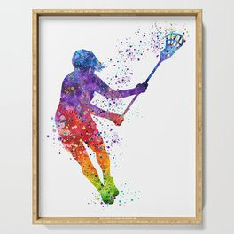 Lacrosse Girl Colorful Watercolor Sports Art Gift Serving Tray