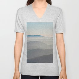 Foggy Mountains in the Distance (Color) Unisex V-Neck