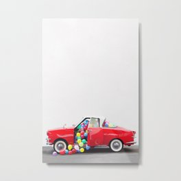 Balloon Car Open Door Metal Print