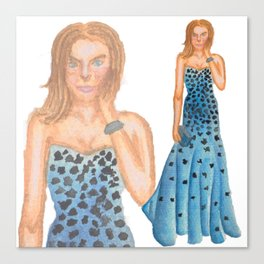 Karlie in Strapless Blue Mermaid Gown Canvas Print
