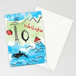City scape - Seattle, Washington Stationery Cards