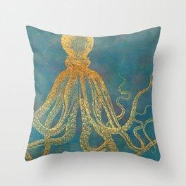 Deep Sea Life Octopus Throw Pillow