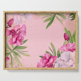 Tropical Pink And White Summer Flowers Serving Tray