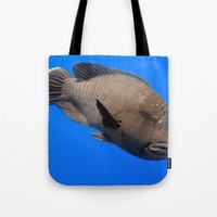 napoleon Tote Bags featuring Napoleon Wrasse by Serenity Photography