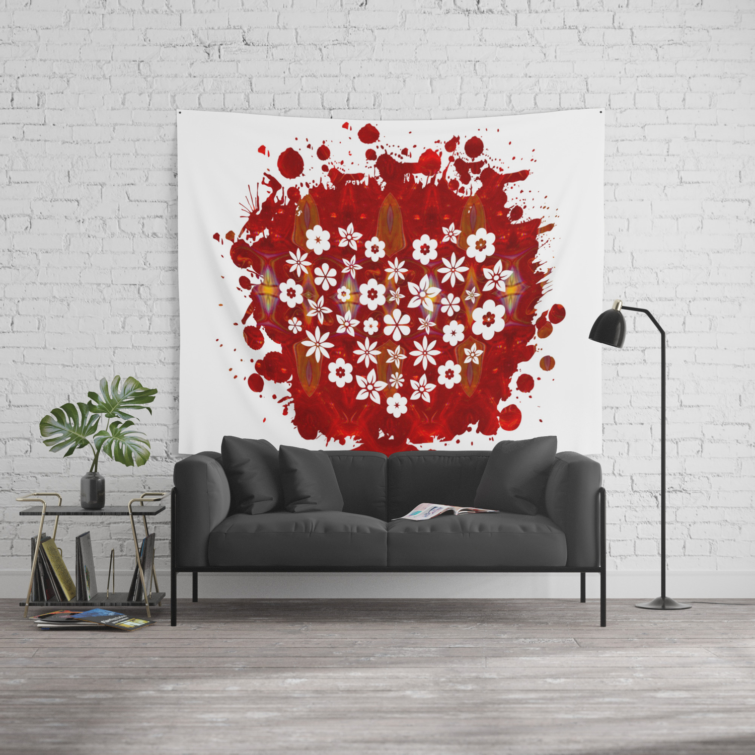 Red Heart Of Flowers Fantasy Designs Abstract Holiday Art Wall Tapestry By Owfotografik Society6