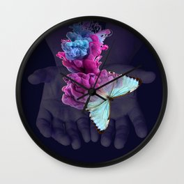 Butterfly Collage Wall Clock