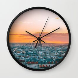 Sunset in Paris (Color) Wall Clock