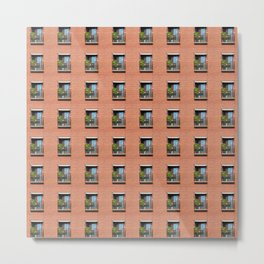 Window Brick Building Pattern Red Wall Metal Print