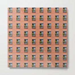 Window Brick Building Pattern Red Wall Metal Print