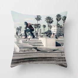 Miami Beach Skatepark Skateboarding poster Skateboarding print photography print Throw Pillow