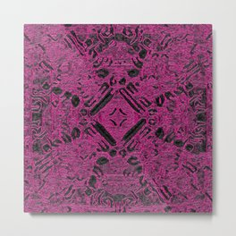 Hot Magenta Ancient Cross Stamp Metal Print