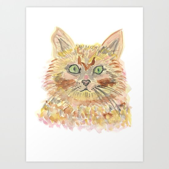 cat - watercolour Art Print