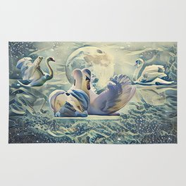 Four Swans Moon Rise Rug