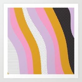 Abstract Print - Mixed Colors and Patterns Wavy Lines Art Print