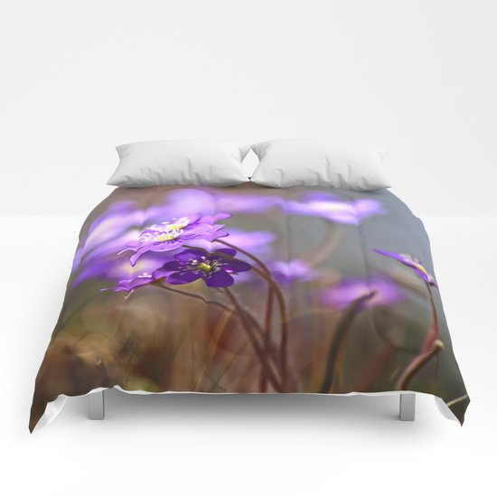 Hepatica In Spring Forest  Comforters