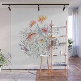 wild flower bouquet and blue bird- ink and watercolor 2 Wall Mural