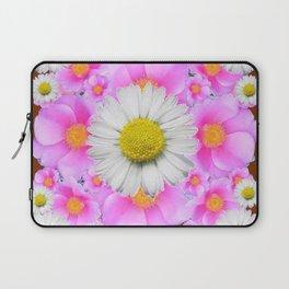 Chocolate Brown Color Shasta Daisies & Rose Pattern Garden Art Laptop Sleeve