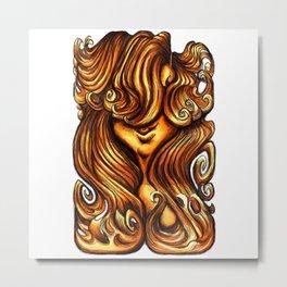Luscious Locks - Orange Metal Print