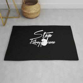Stop Kidney Disease - WhiteText / Black Background Rug