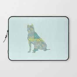 American Staffordshire Dog Vintage Floral Pattern Teal Yellow Grey Silver Shabby Chic Laptop Sleeve