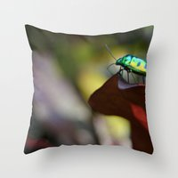 philippines Throw Pillows featuring Iridescent Bug (Philippines) by Dr. Tom Osborne
