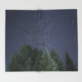 Pine trees with the northern michigan night sky Throw Blanket