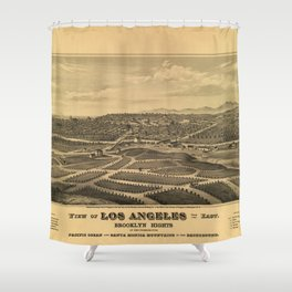 Aerial View of Los Angeles, California (1877) Shower Curtain