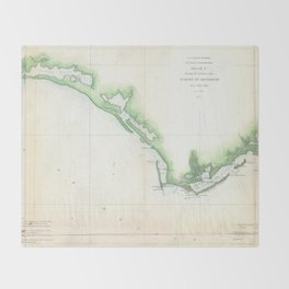 Vintage Florida Panhandle Coastal Map (1852) Throw Blanket