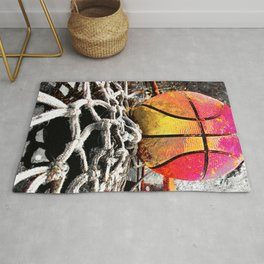 Basketball art print swoosh 111 - Basketball artwork Rug