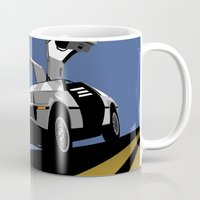 delorean Mugs featuring Delorean - Retro Poster; Blue by Geoff Ombao Car Art