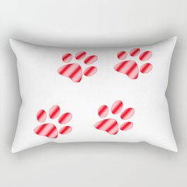 Red and Pink Gradient Paws Rectangular Pillow