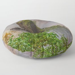 Rock showing in the waterfall Floor Pillow