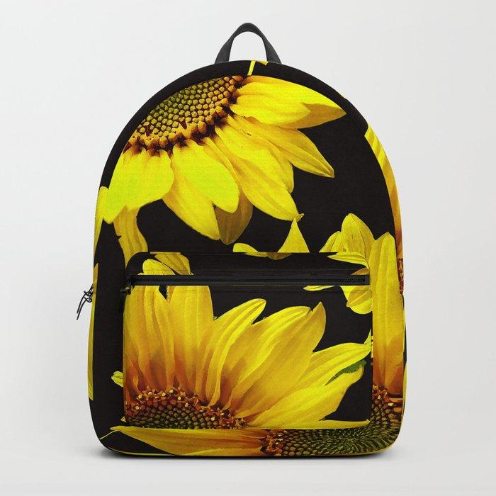Large Sunflowers on a black background #decor #society6 #buyart Backpack