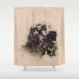 English Cocker Spaniel Sketch Shower Curtain