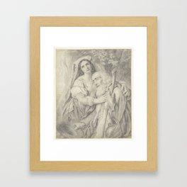 Old beggar with daughter, Matthijs Maris, after Cornelis Kruseman, 1849 - 1917 Framed Art Print