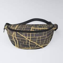 MEMPHIS TENNESSEE GOLD ON BLACK CITY MAP Fanny Pack