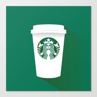starbucks Canvas Prints featuring starbucks  by Daryl Beaney