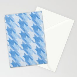 Blue Monochrome Houndstooths Stationery Cards