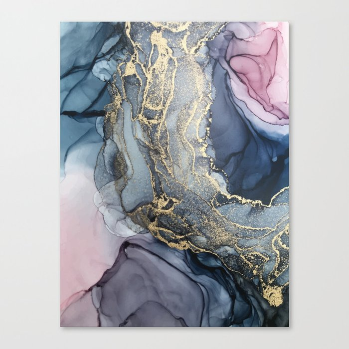 Blush, Payne's Gray and Gold Metallic Abstract Canvas Print
