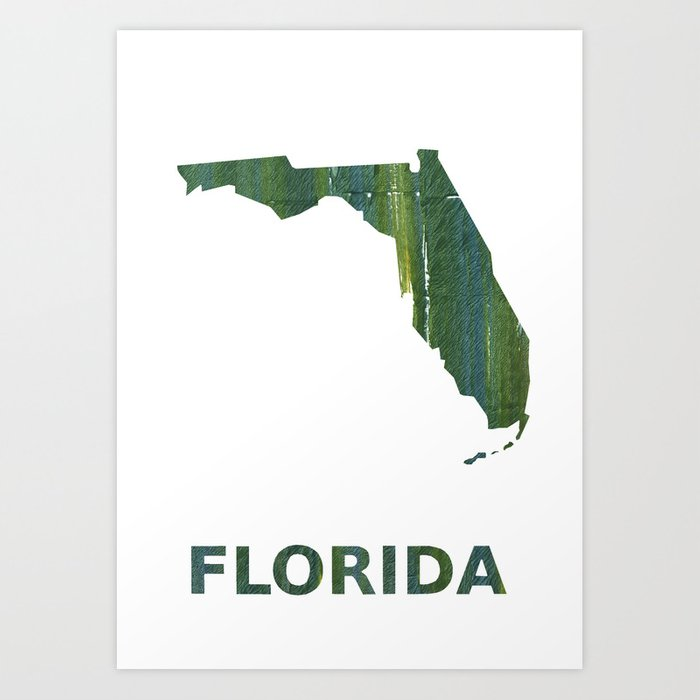 Watercolor Florida Map.Florida Map Outline Deep Moss Green Watercolor Art Print By Genrus