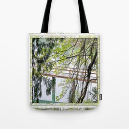 RAINY SPRING DAY AT THE DOCK IN THE WOODS Tote Bag