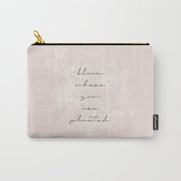 Bloom Where You Are Planted Floral Sketch Tan Carry-All Pouch