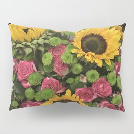 Sunflowers and Little Red Roses Pillow Sham