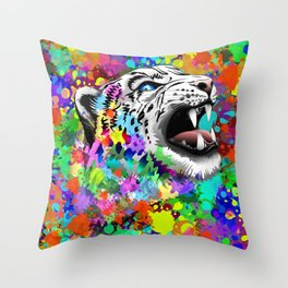Leopard Psychedelic Paint Splats Throw Pillow