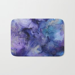 Abstract Watercolor Coastal, Indigo, Blue, Purple Bath Mat