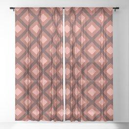 Pantone Living Coral Zigzag, Diamond Square Pattern Sheer Curtain